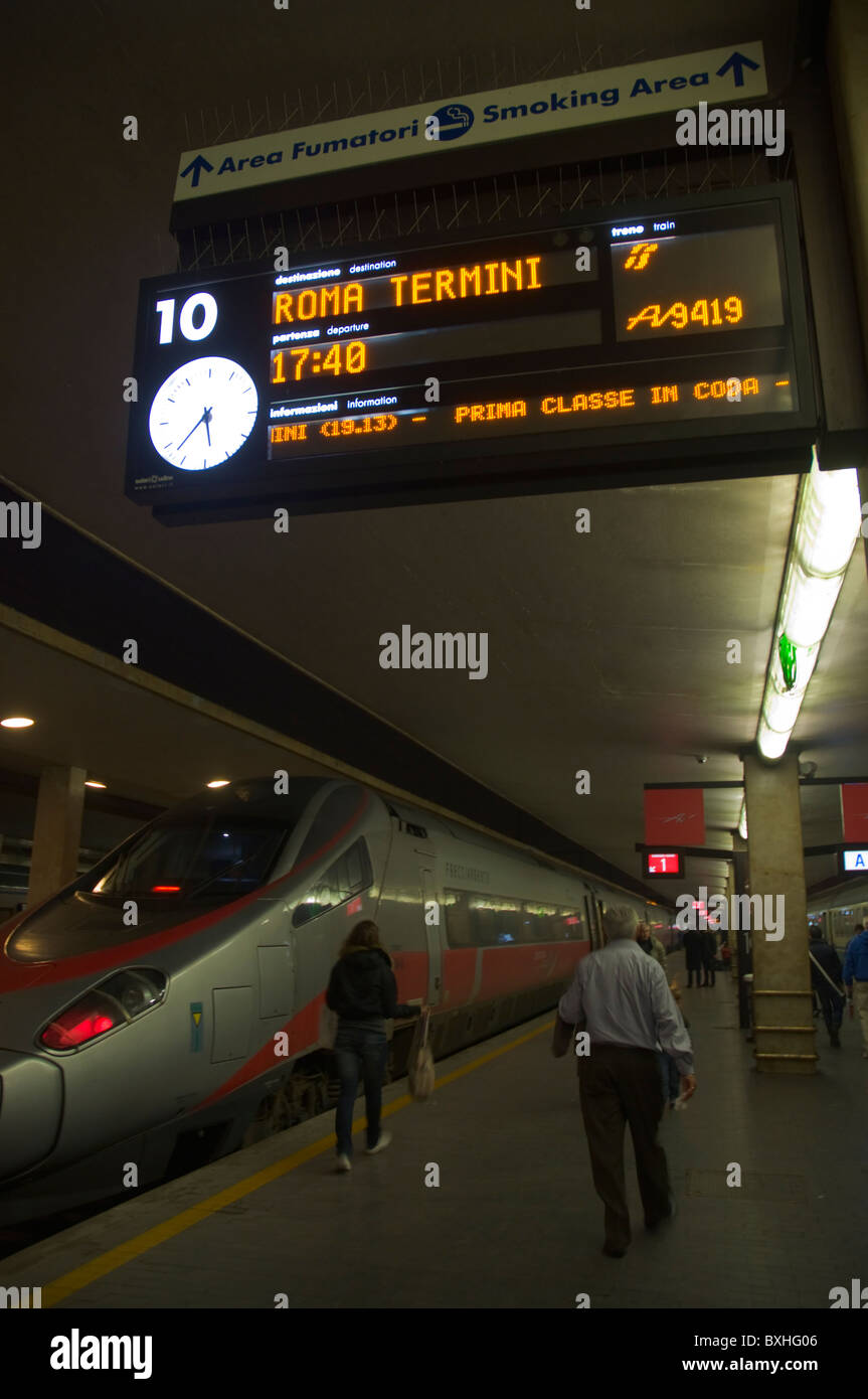 Florence-Rome train at Firenze Centrale the main railway station Florence (Firenze) Tuscany central Italy Europe - Stock Image