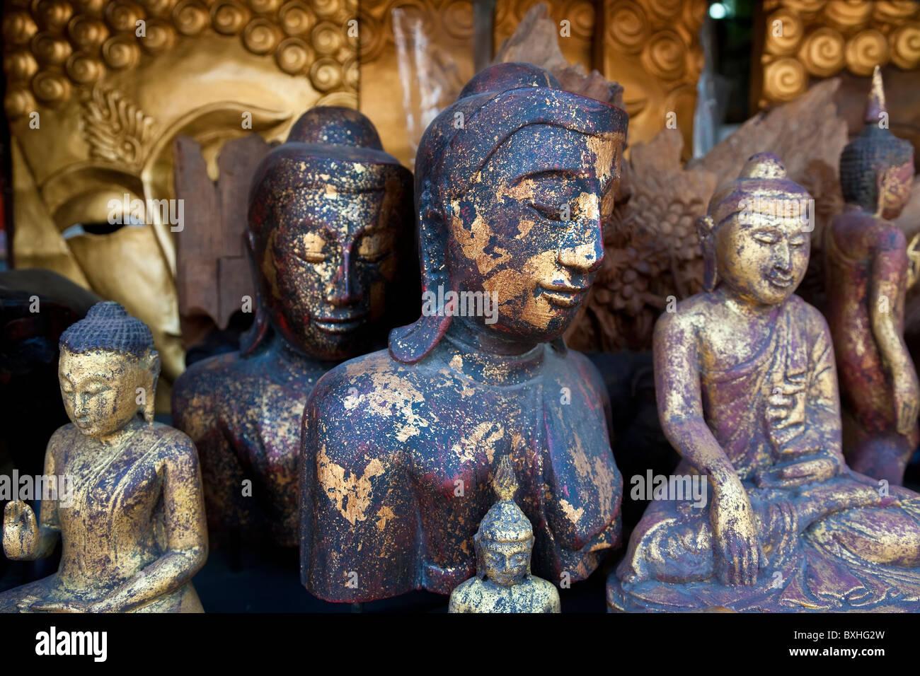 Buddha figures, weekend market, Bangkok, Thailand - Stock Image