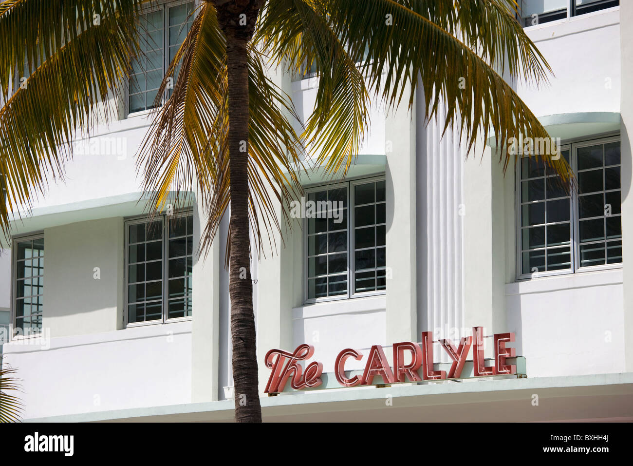 The Carlyle in South Beach Miami Luxury Condo Vacation Rental on Ocean Drive, South Beach, Miami, Florida, USA - Stock Image