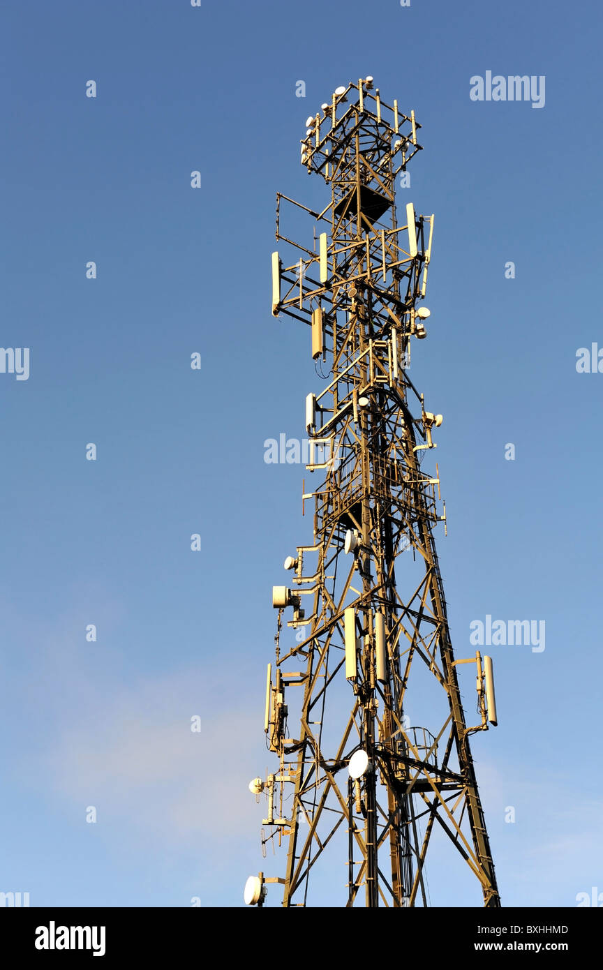 Multi-aerial antennae tower mast for mobile telephone and other forms of radio communication. - Stock Image
