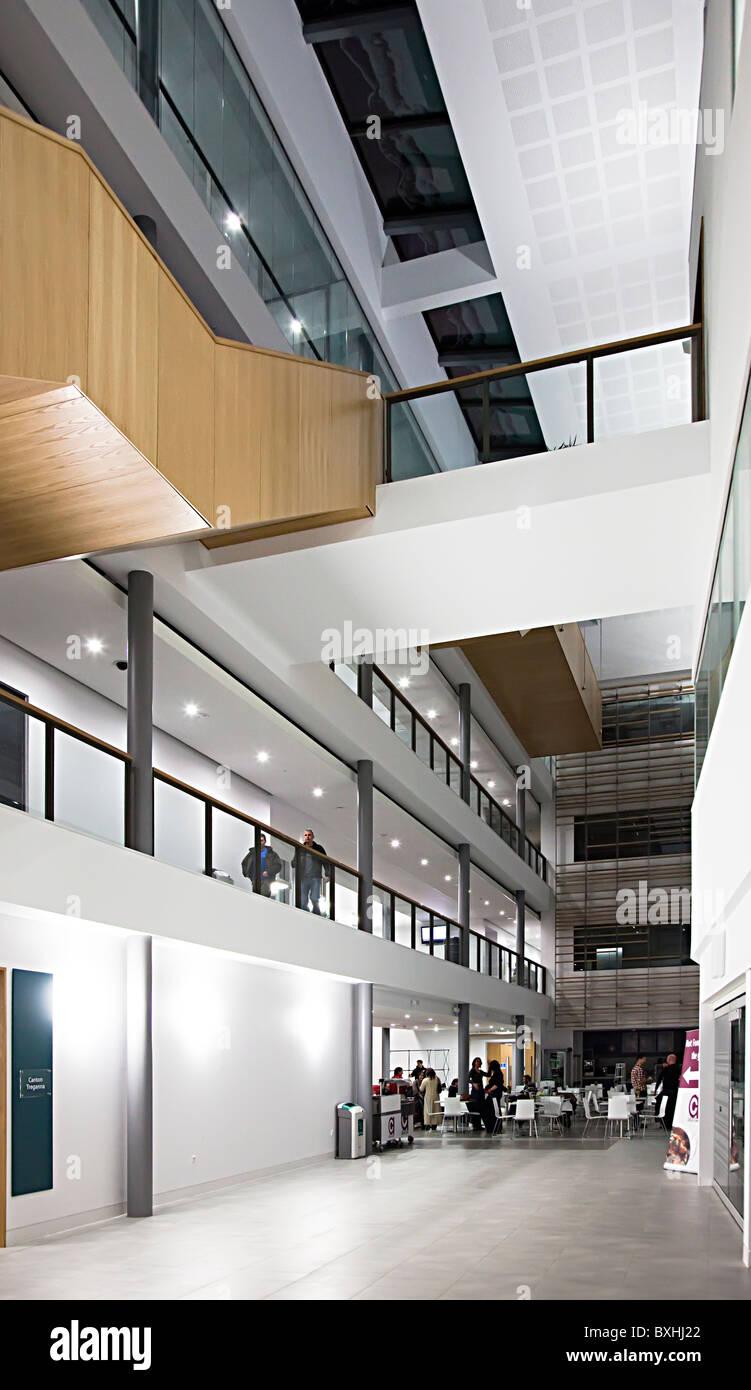 Interior of modern university building Athrofa Prifysgol Cymru Stock ...