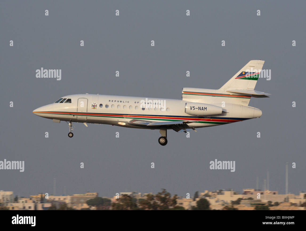 Dassault Falcon 900 business jet operated by the Government of Namibia - Stock Image