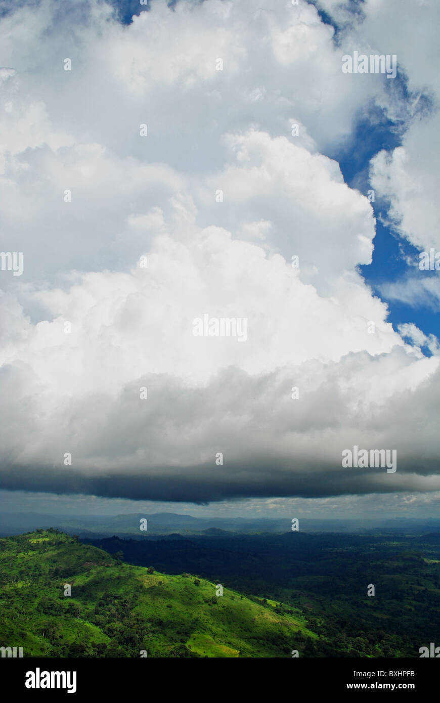 Cumulo-nimbus rainclouds from the side - Ivory Coast, West Africa Stock Photo