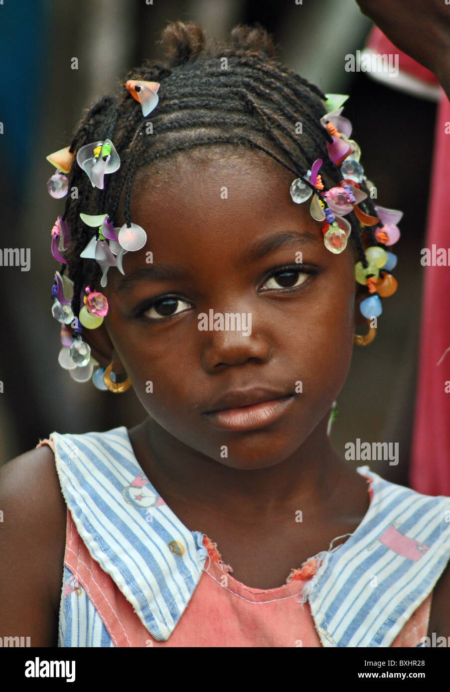 Girl with beads, Ferkessedougou, Ivory Coast - Stock Image