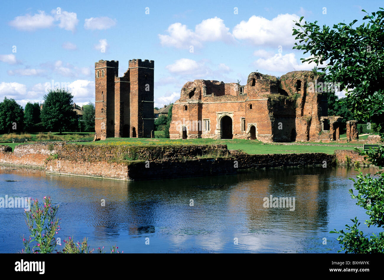 Kirby Muxloe Castle and Moat, Leicestershire England UK English medieval castles moats keep keeps ruin ruins ruined - Stock Image