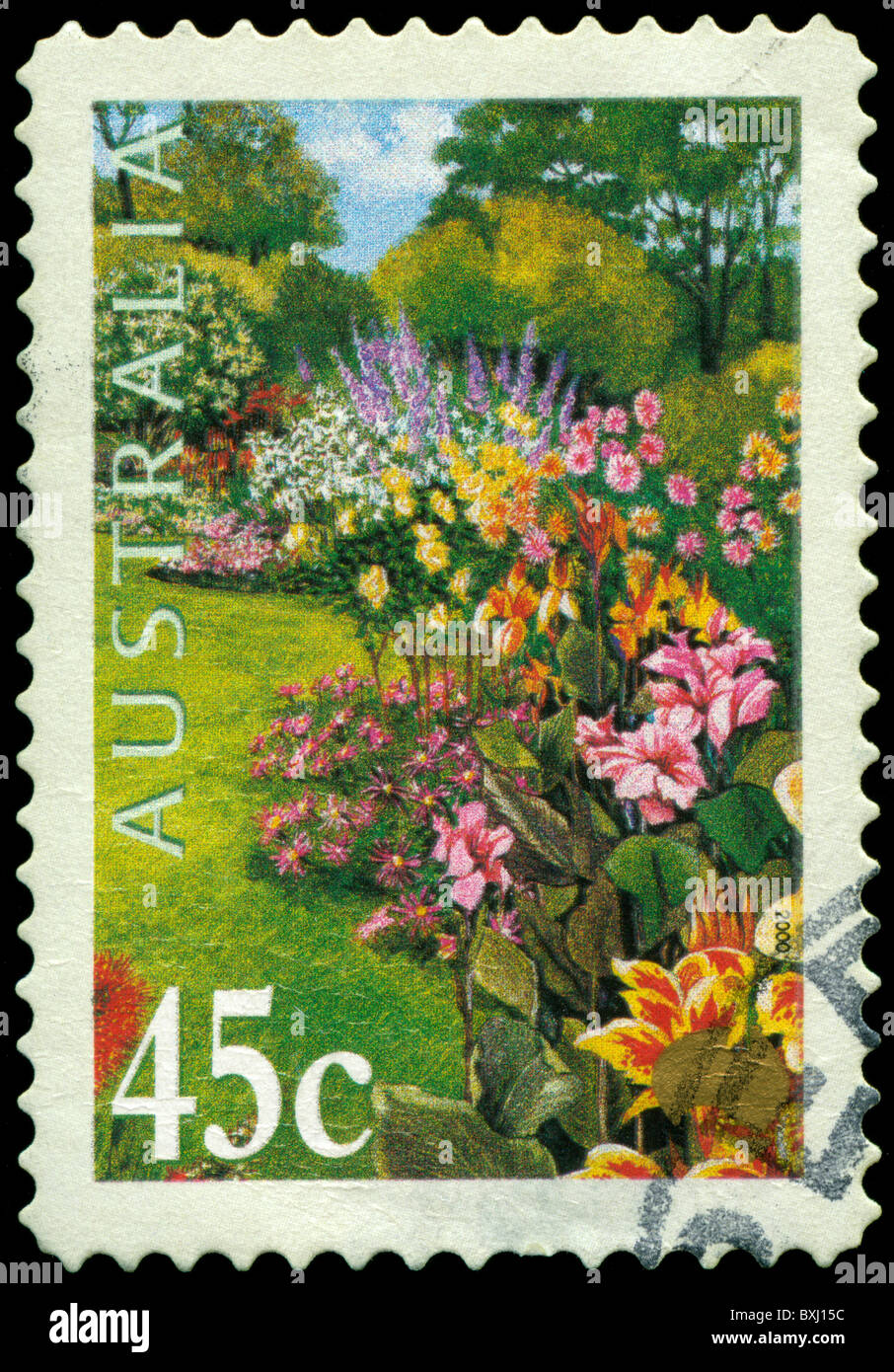 Stamp from Australia with garden motif - Stock Image