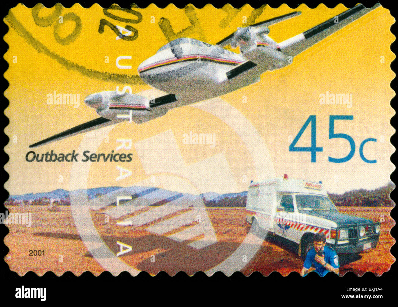 Stamp from Australia depicting Outback Services - Stock Image