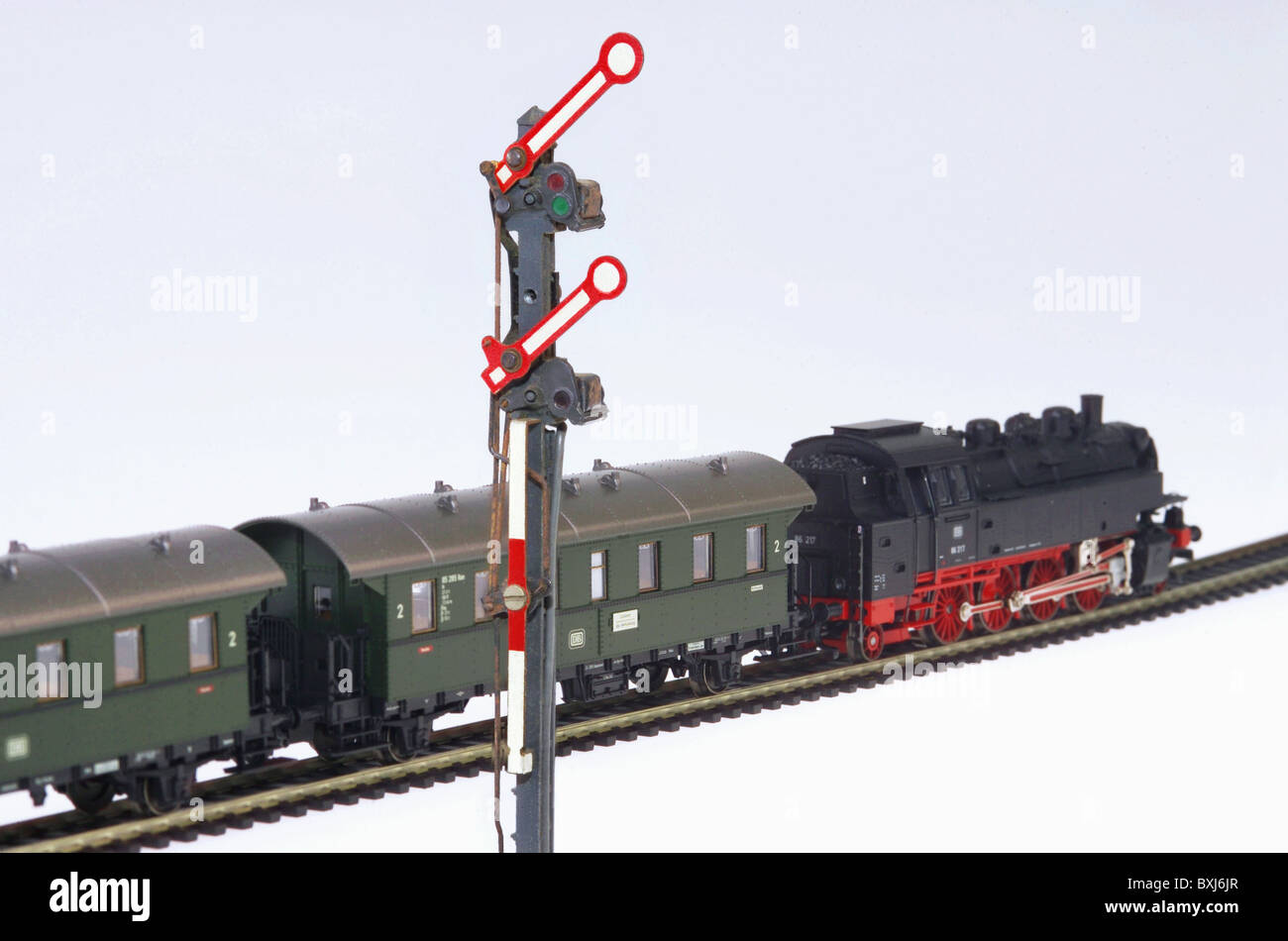 toy,  model railway, steam train, railway signal, 1930s, , Additional-Rights-Clearences-NA Stock Photo