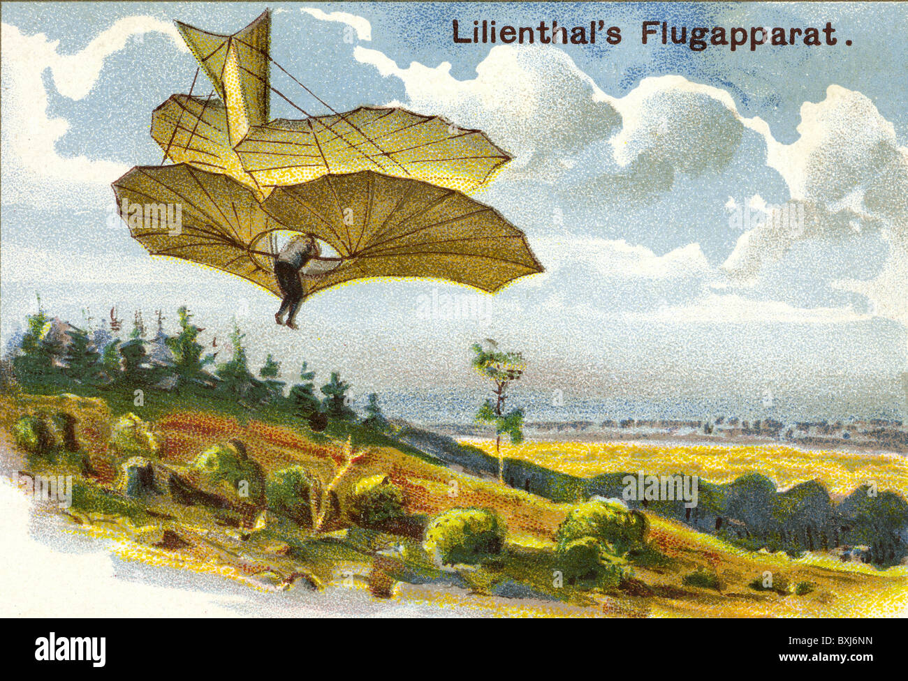 Lilienthal, Otto, 1848 - 1896, with one of his first aircraft, Germany, 1895, 1890s, 19th century, historic, historical, - Stock Image