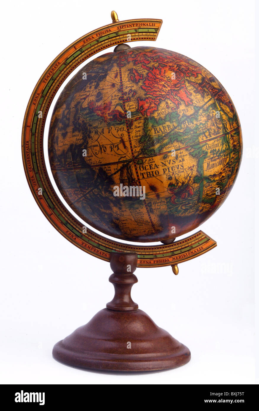 Old world map globe cut out stock images pictures alamy cartography globes globe replication of an old world map from 16th century gumiabroncs Gallery