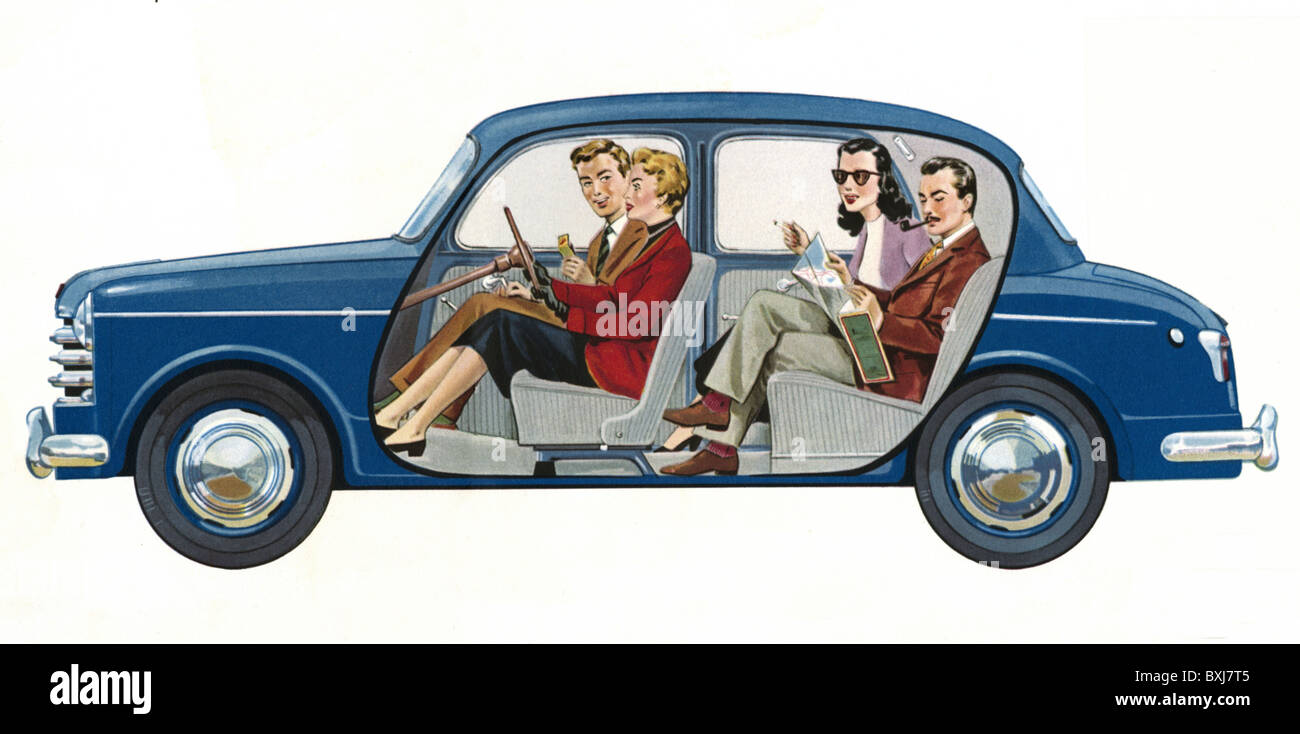 transport / transportation, car, vehicle variants, NSU Fiat 1100, four-seater, Germany / Italy, 1953, 1950s, 50s, - Stock Image