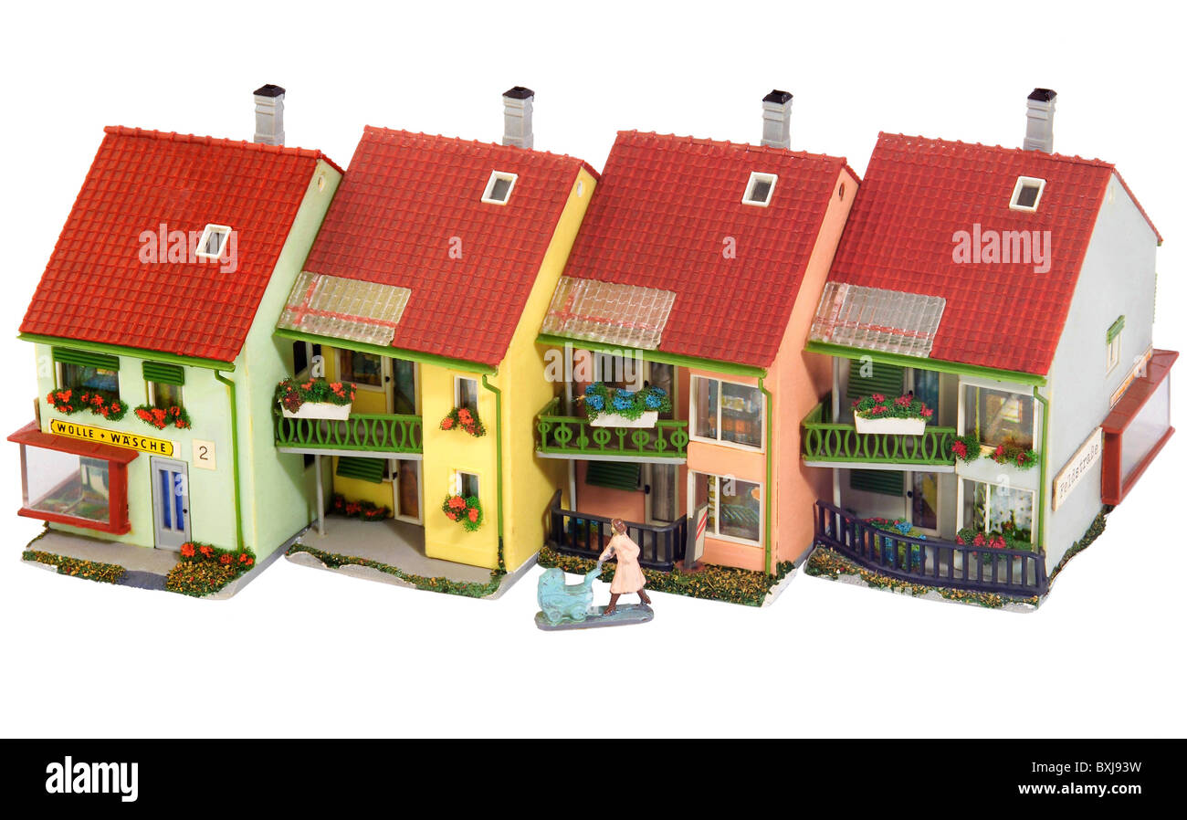 Toys Model Making Row Of Houses Germany Circa 1964 Stock Photo