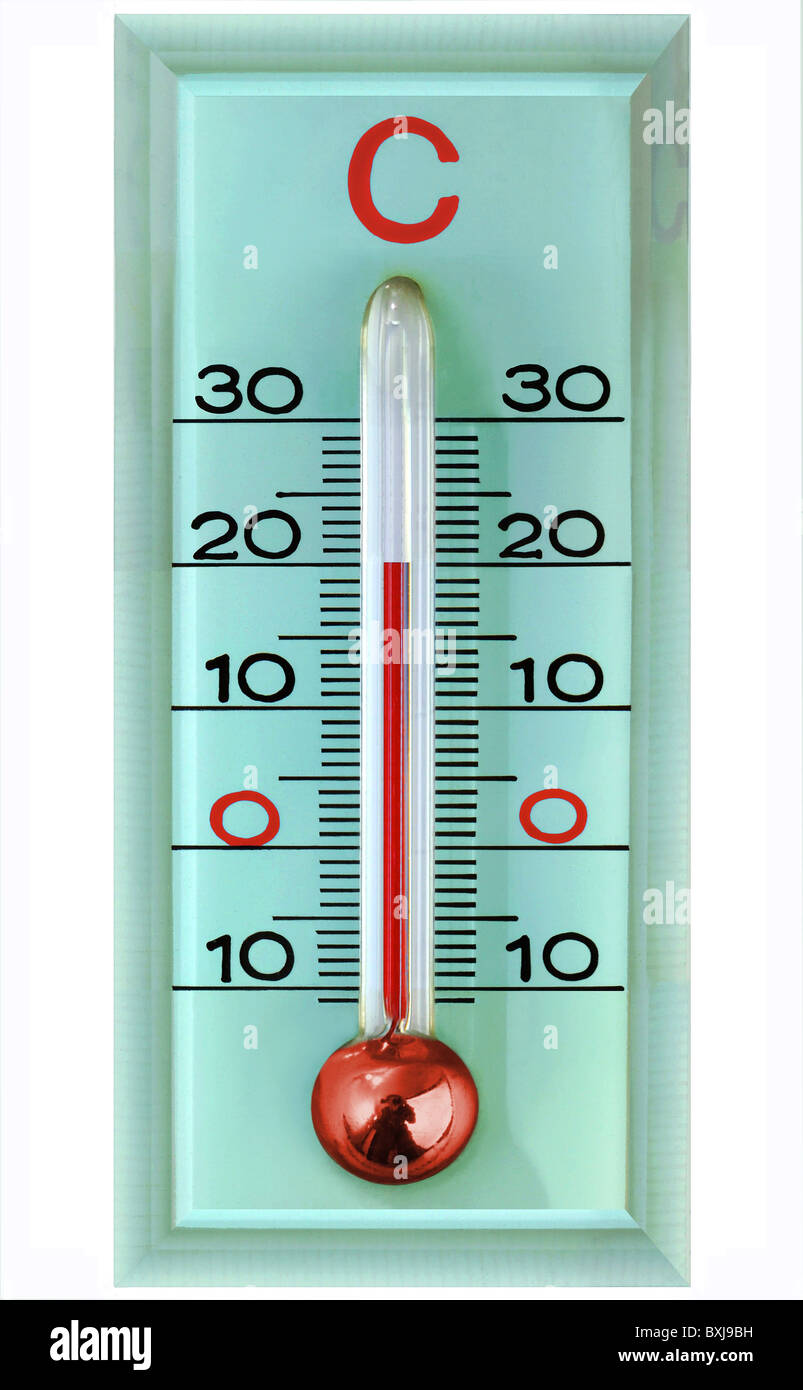 technics, measuring instruments, thermometer, 20 degrees, room temperature, symbol image, Germany, thermometers, - Stock Image