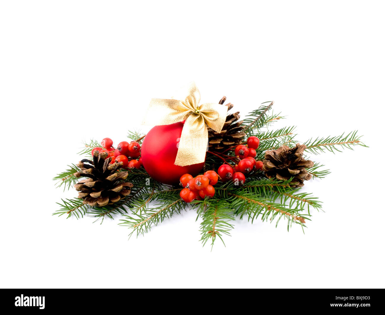Picture of red glass ball, fresh spruce, rowan and cones on white background - Stock Image