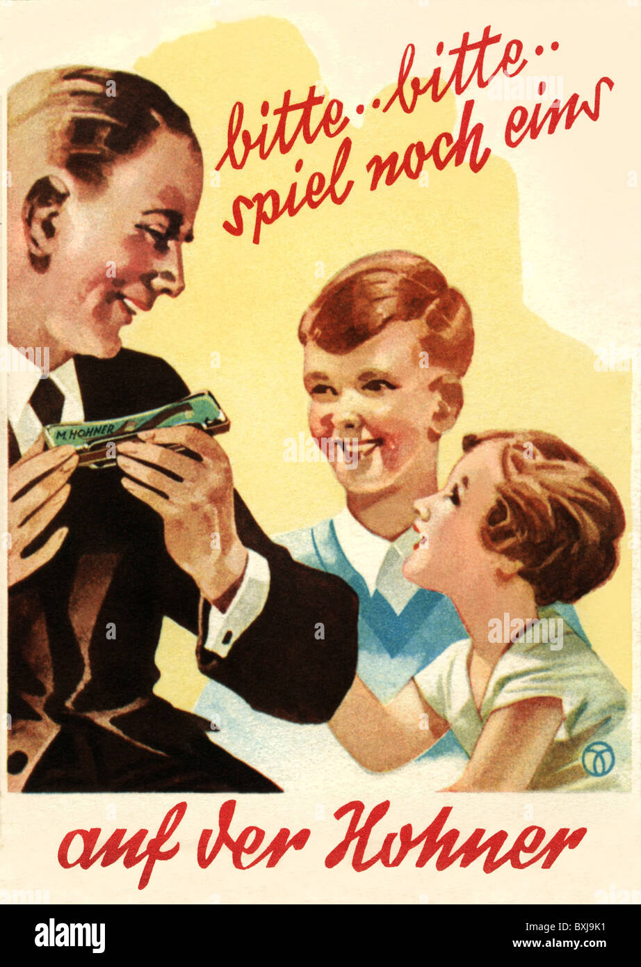 advertising, music, musical instruments, mouth organ, Hohner, Germany, circa 1935, Additional-Rights-Clearences - Stock Image