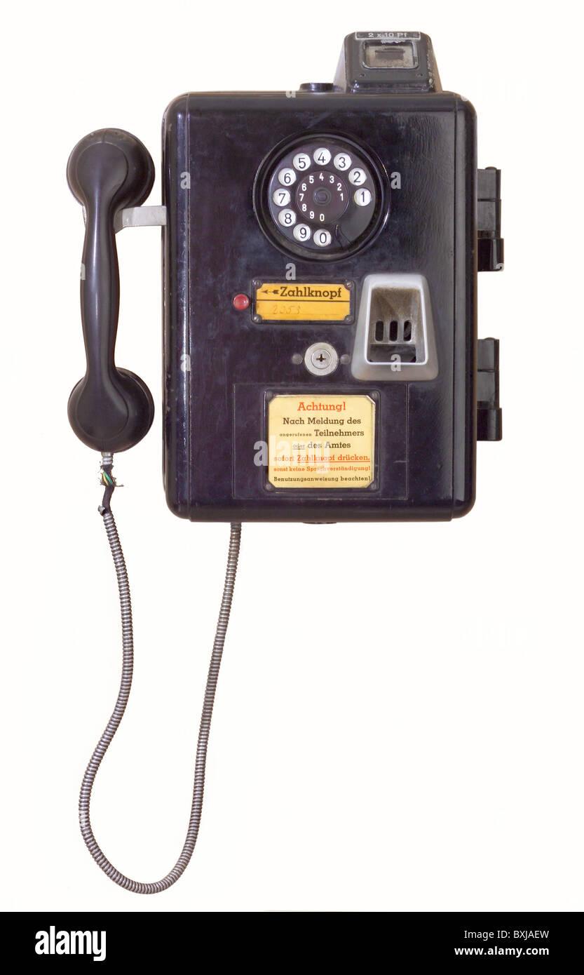 technics, telephones, telephone, public telephone, German Reichspost, payphone 33, Germany, 1933, 1930s, 30s, 20th - Stock Image