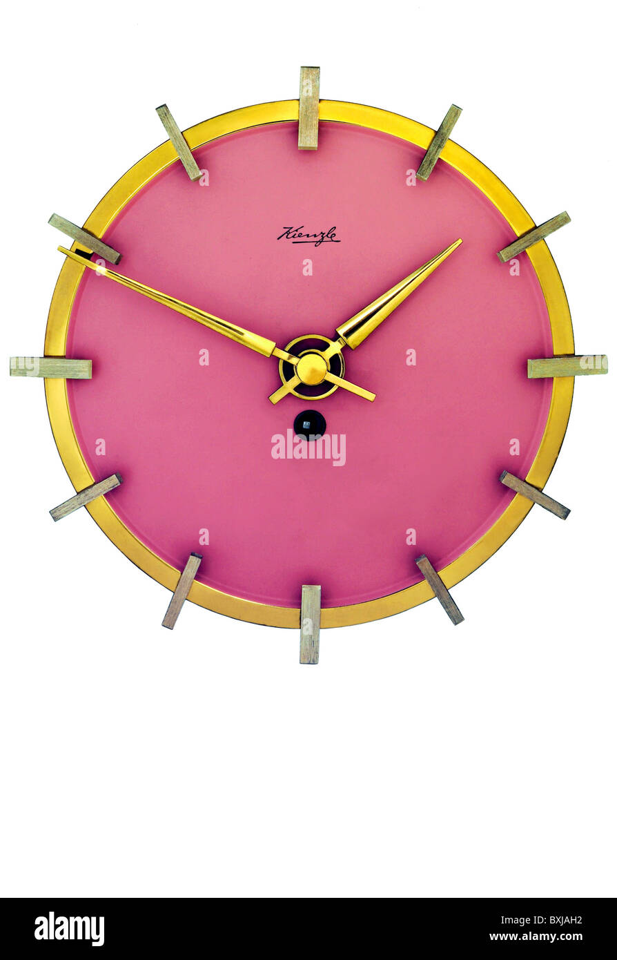 clocks, wall clock, made by Kienzle, Germany, circa 1956, Additional-Rights-Clearences-NA - Stock Image