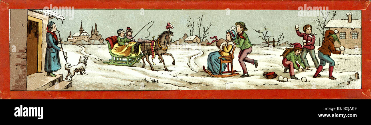 seasons, wintertime, winter, sledge ride, Germany, circa 1875, Additional-Rights-Clearences-NA - Stock Image