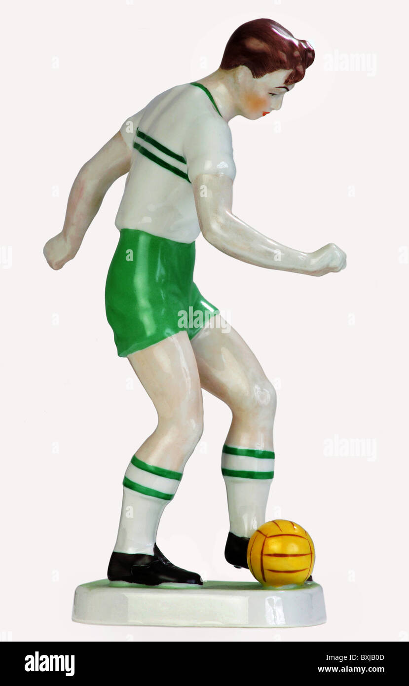 sports, soccer / football, footballer, porcelain figure, Budapest, Hungary, circa 1929, Additional-Rights-Clearences - Stock Image