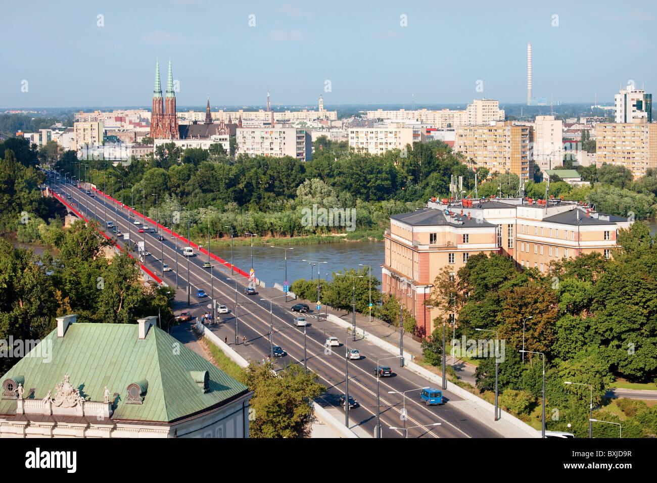 Cityscape of Warsaw, Poland, Slasko-Dabrowski bridge. On first plan Srodmiescie district. Praga district behind - Stock Image