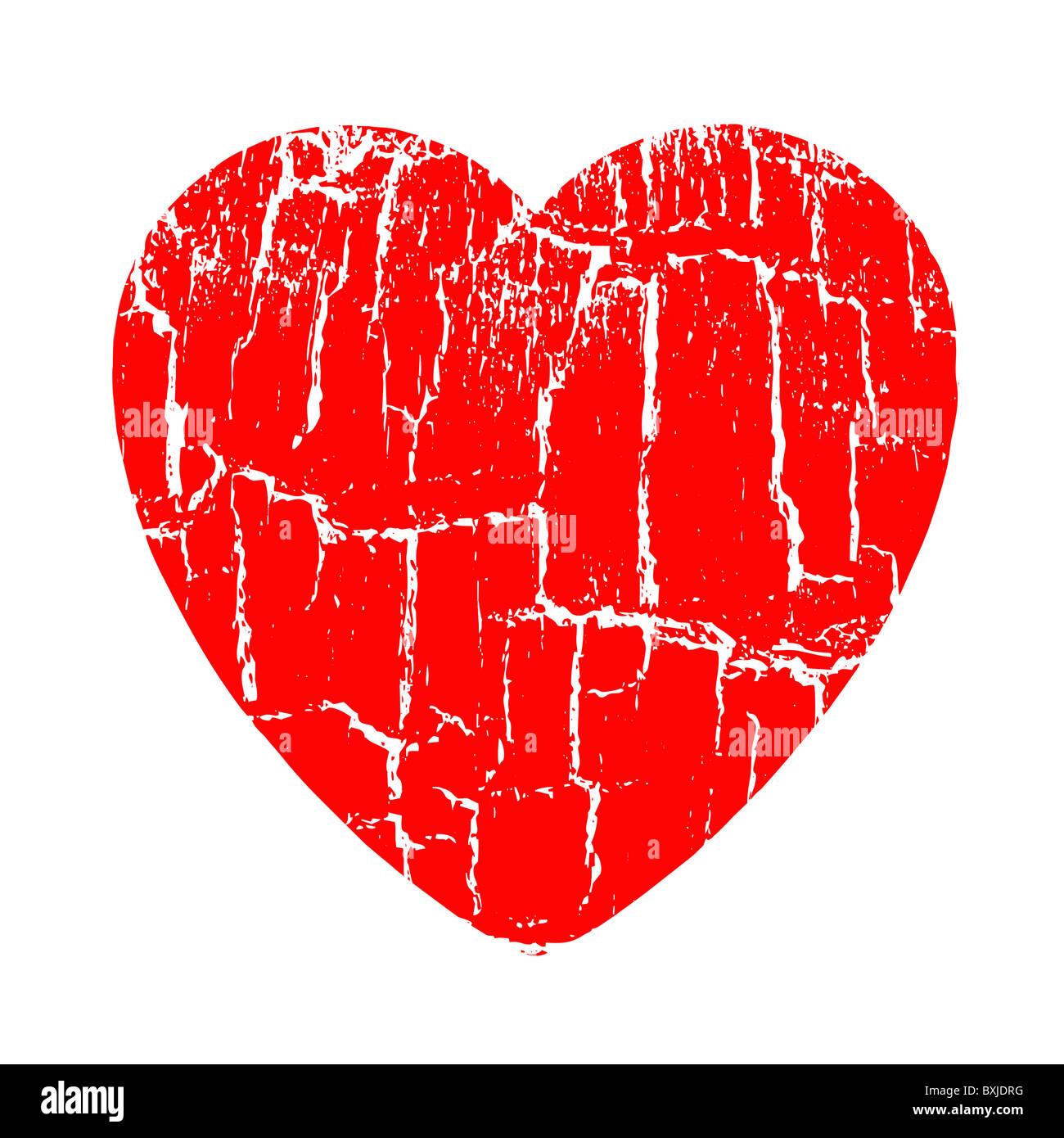 vector illustration heart in rift - Stock Image