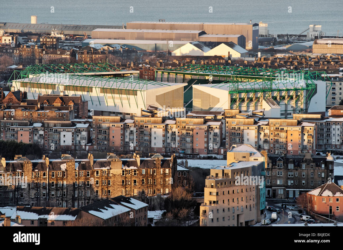 The Hibernian Football Club Easter Road football stadium, Edinburgh, Scotland, UK. Stock Photo