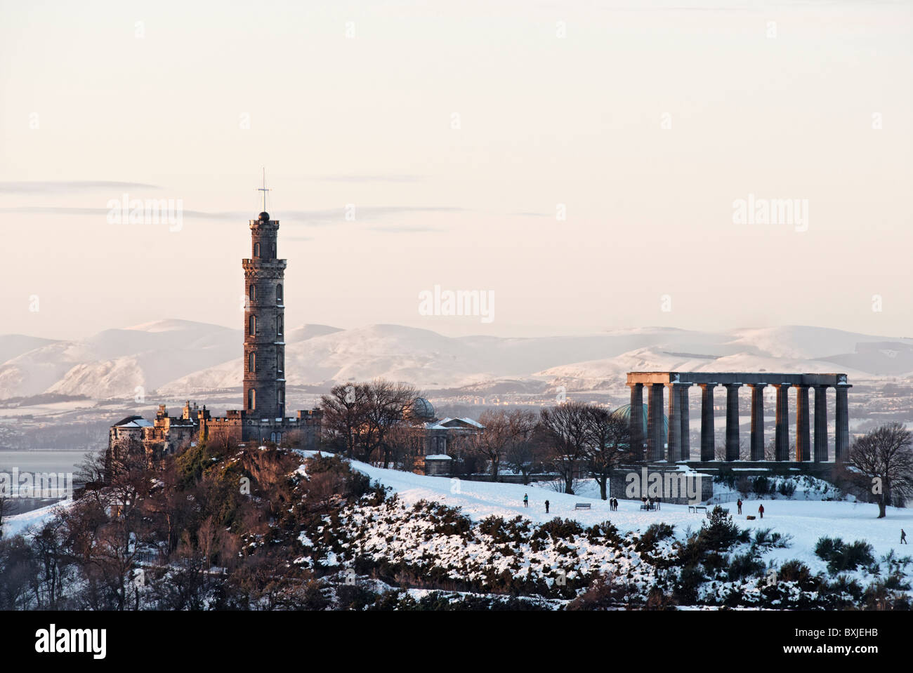 The National Monument and Nelson's Tower on Calton Hill, Edinburgh, Scotland, UK. Stock Photo