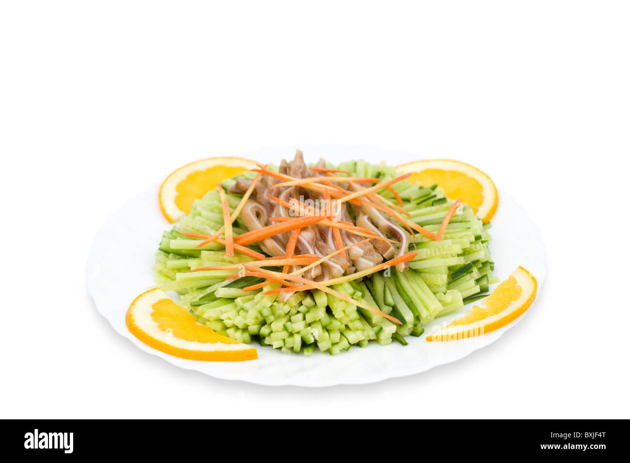 Chinese Food Shredded Cucumbers Meat And Carrots Decorated With
