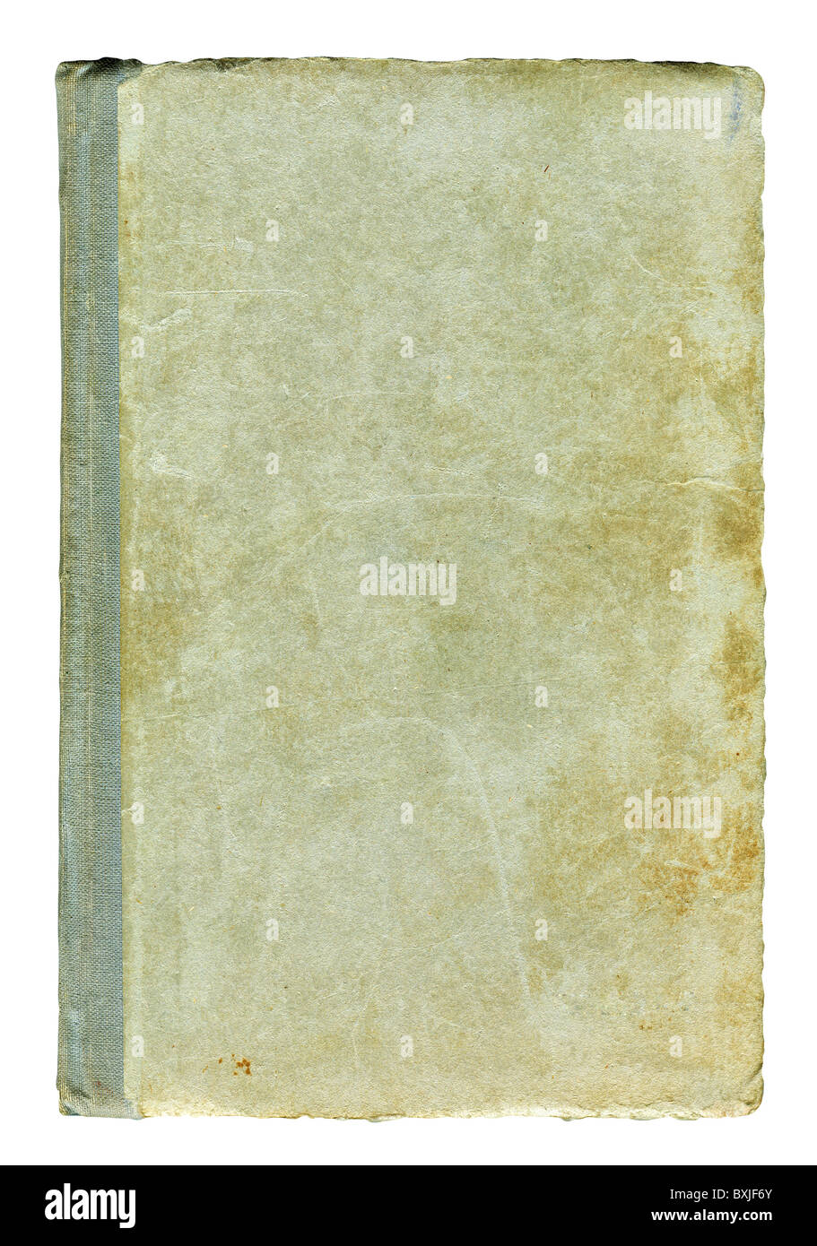 Obsolete dirty scuffed book cover isolated over white - Stock Image