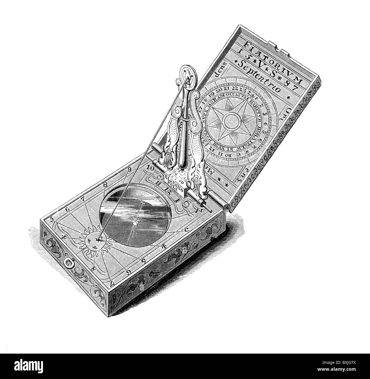 Journey-Ring or Viatorium, circa 1587, a sort of pocket compass; Black and White Illustration; - Stock Image