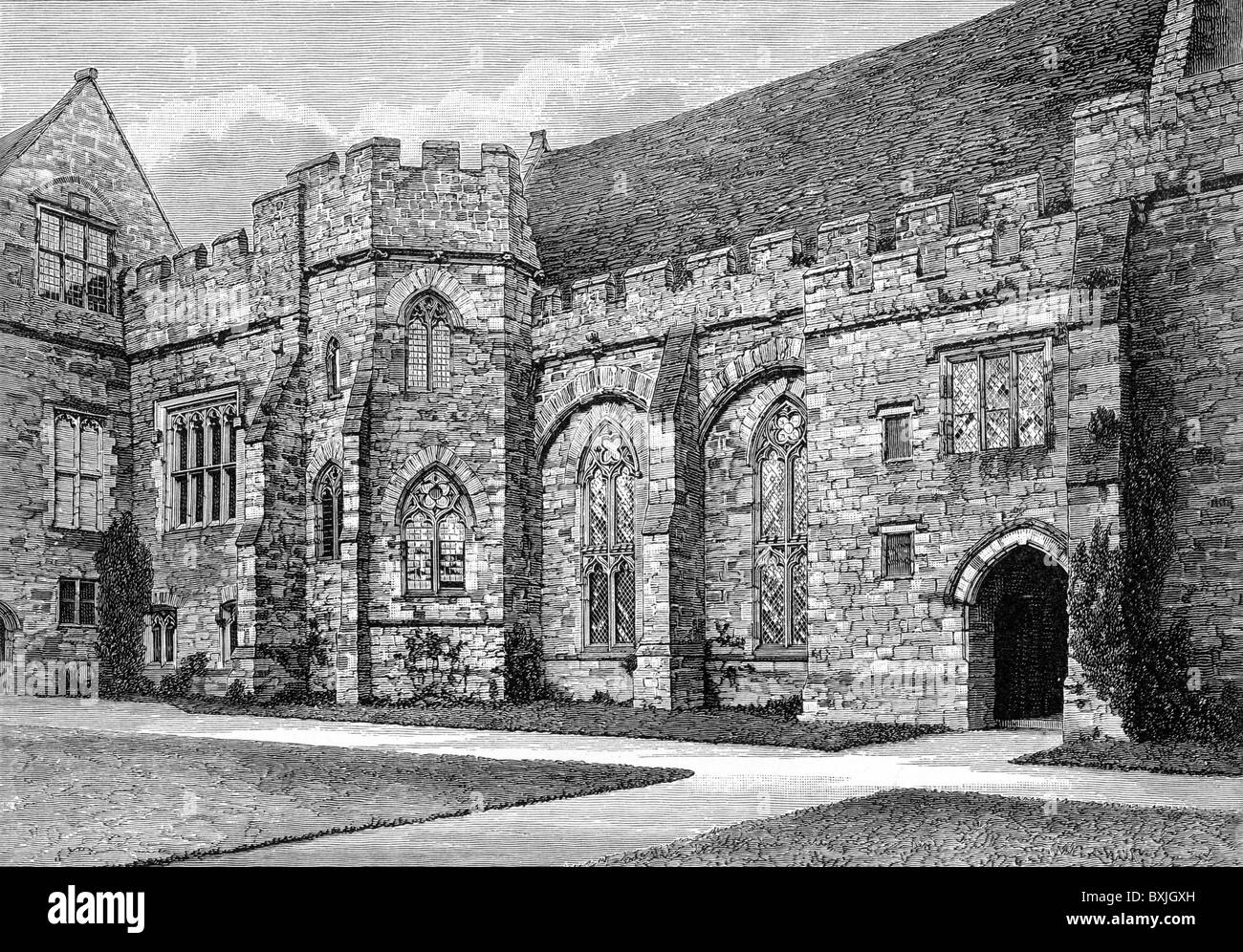 Penshurst Place, Kent, home to the Elizabethan poet Sir Philip Sidney; Black and White Illustration; - Stock Image