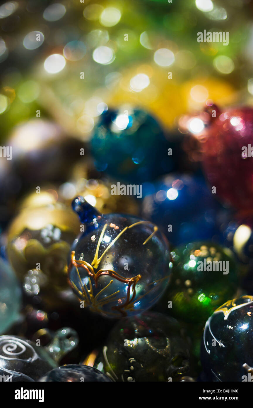Christmas baubles with extremely shallow DOF - Stock Image