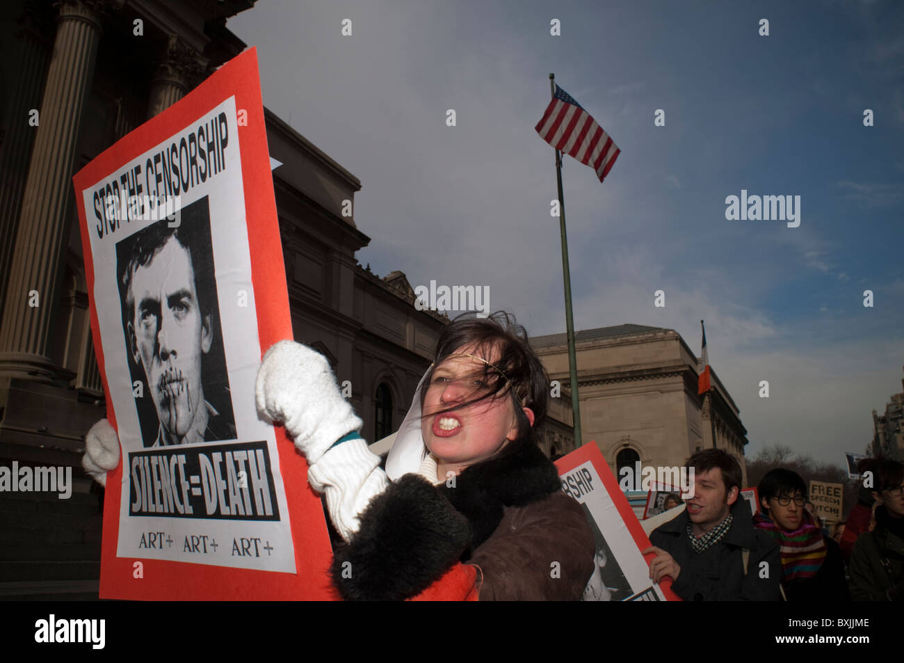 Protesters demonstrate in New York against the Smithsonian Institute pulling the David Wojnarowicz video - Stock Image