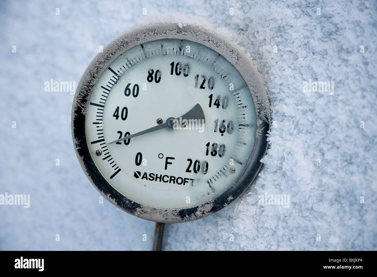Thermometer Placed In Snow Showing The Ambient Air Temperature As Sevendegrees Fahrenheit Or Roughly Minus Eight Celsius