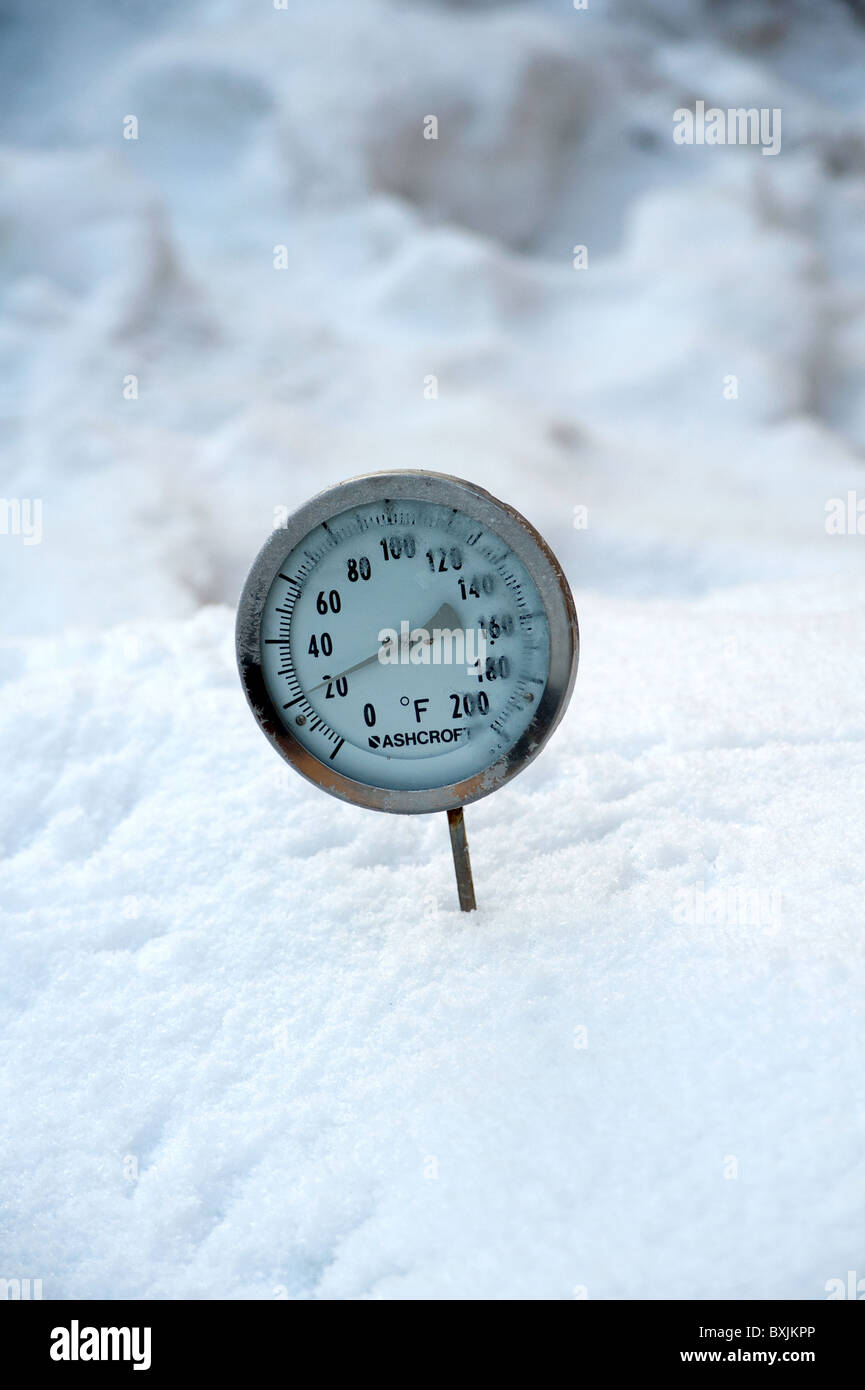 Thermometer Placed In Snow Showing The Ambient Air Temperature As Twenty Degrees Fahrenheit Or Roughly Minus Six Celsius