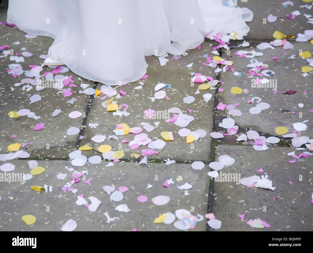 confetti on the floor at wedding - Stock Image