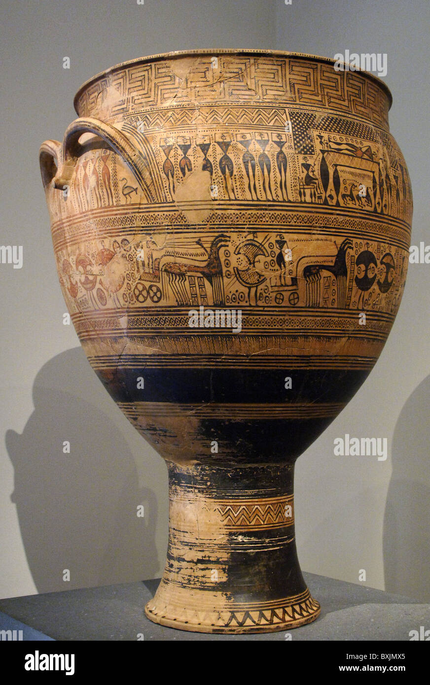 Terracotta funerary krater dated between 750 and 735 depicting the deceased lying and surrounded by his family. - Stock Image