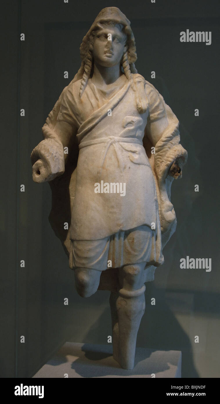 Marble statuette of Dionysos. 3rd century BC. - Stock Image