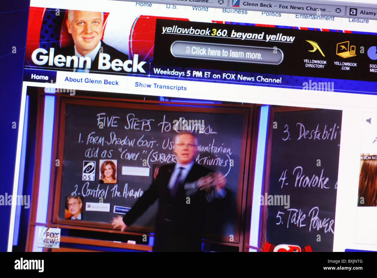 Live streaming video on American conservative commentator Glenn Beck's website - Stock Image