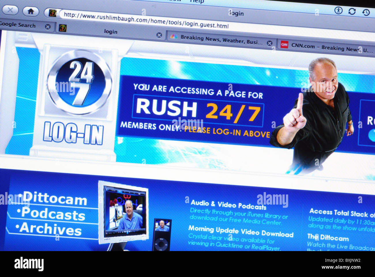 Members only entrance on American conservative commentator Rush Limbaugh's website - Stock Image