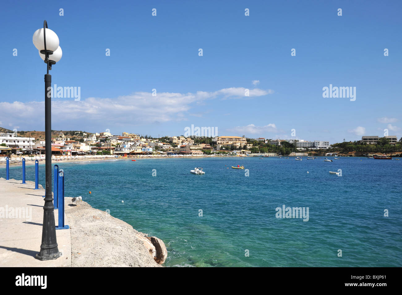 View across the bay of Agia Pelagia, Crete, Greece - Stock Image