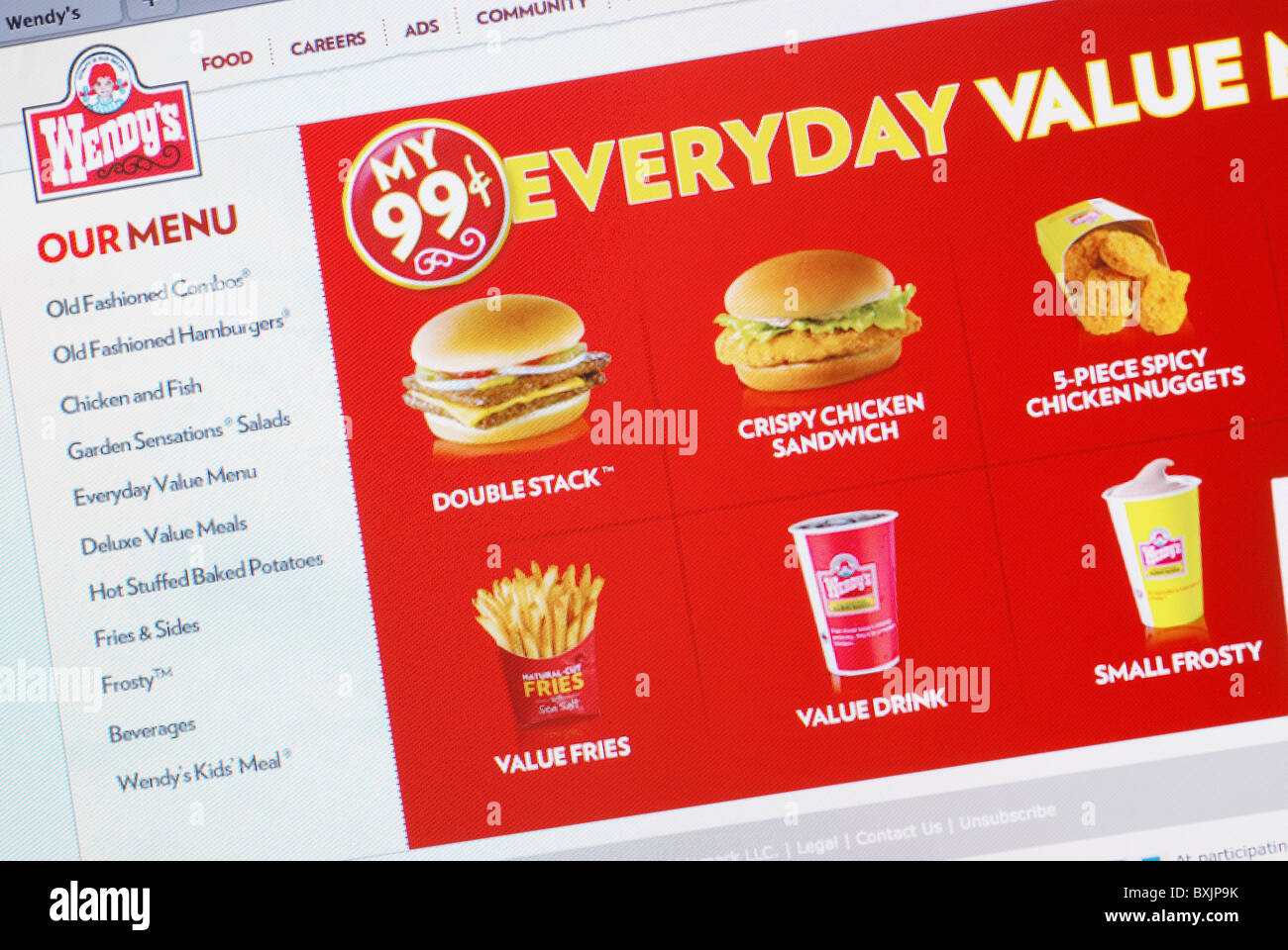 99 Cent Value Meal Ad On Wendys Old Fashioned Hamburgers Website