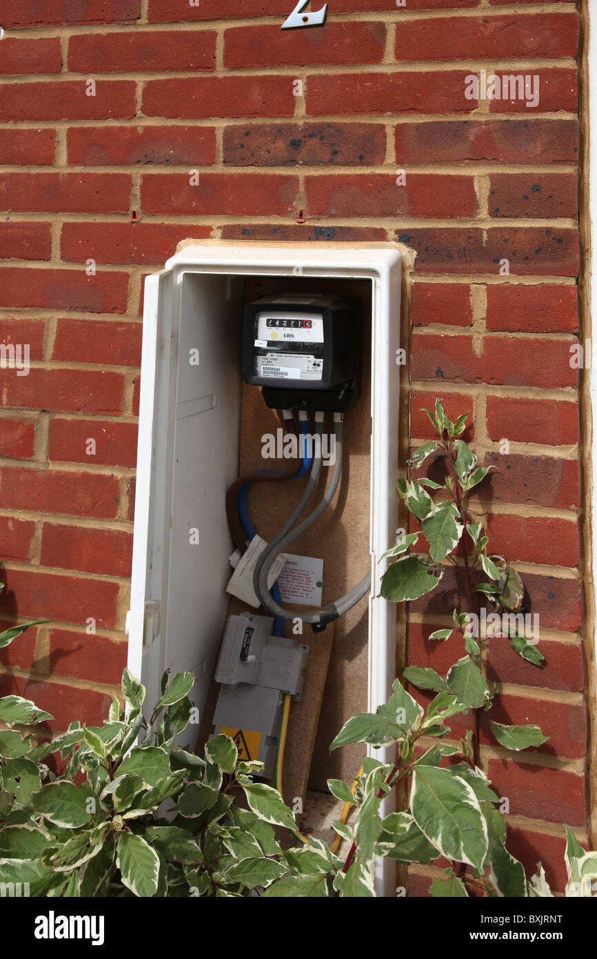 UK domestic electricity meter and outside cupboard - Stock Image