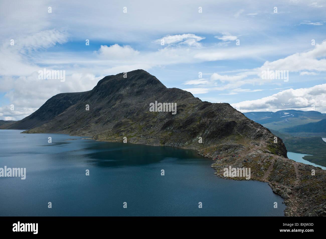 View of Besseggen ridge and Bessvatnet lake, Jotunheimen national park, Norway - Stock Image