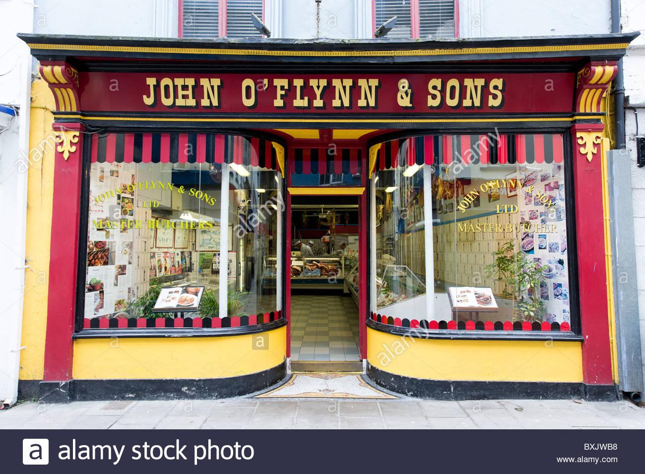 John O'Flynn & Sons traditional butchers shop in Cork, County Cork, Ireland - Stock Image