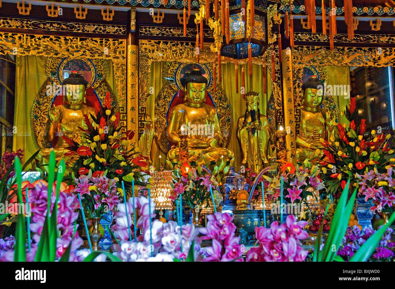 Interior of Po Lin monastery at Ngong Ping Lantau Island Hong Kong China - Stock Image
