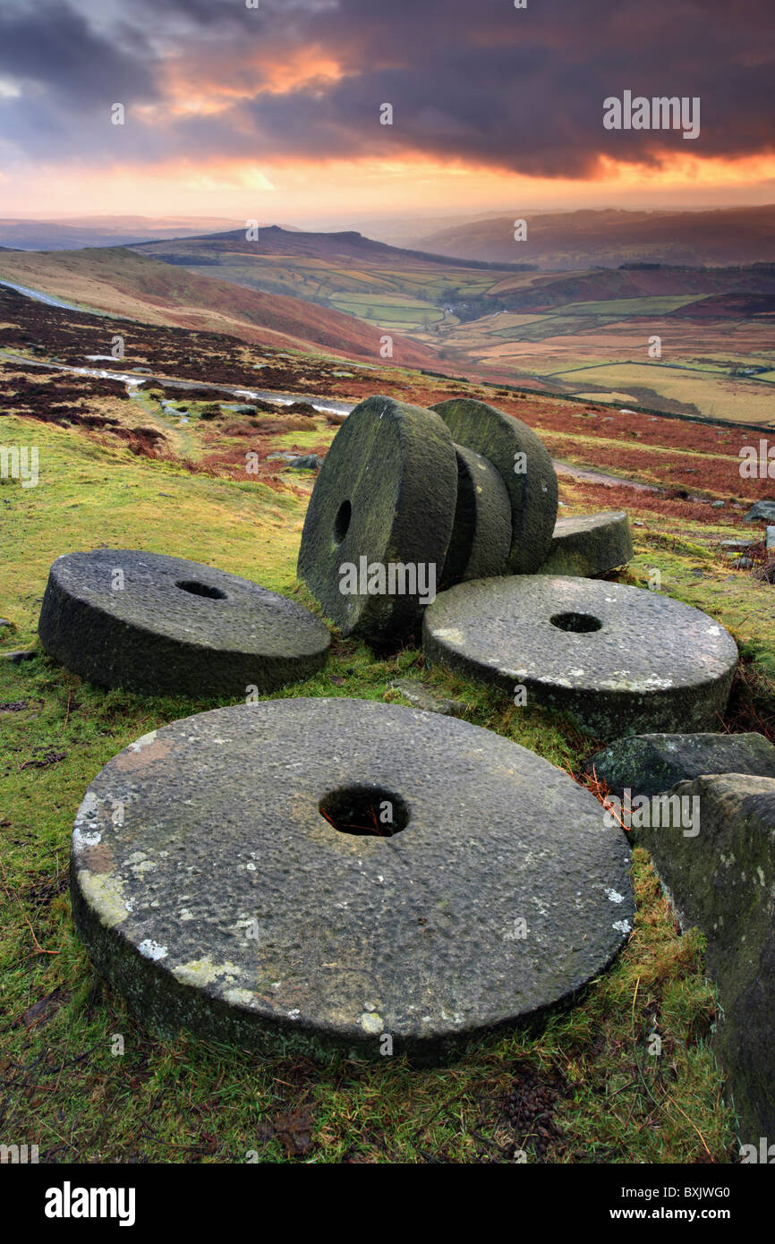 Mill Stones on Stanage Edge in the Peak District captured at sunset - Stock Image