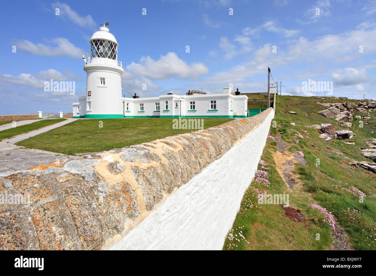 Pendeen Watch Lighthouse near Pendeen in the west of Cornwall - Stock Image