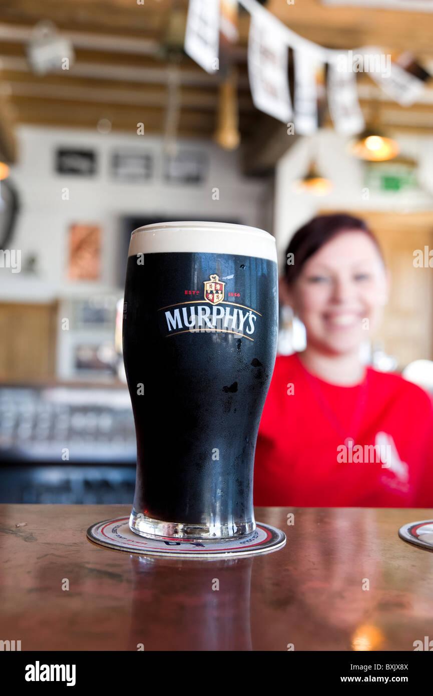 Pint of Murphy's stout beer, County Cork, Ireland - Stock Image