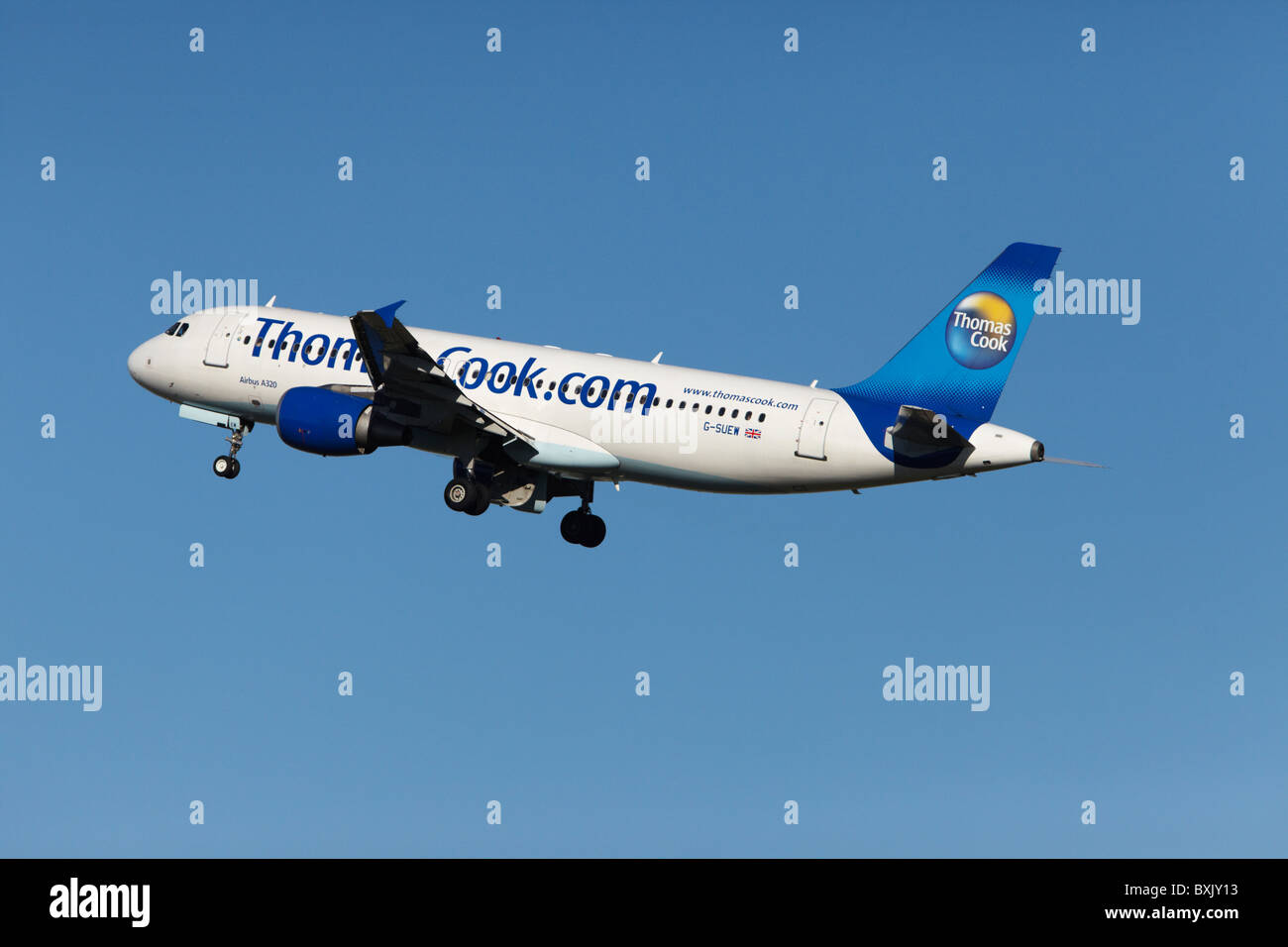 Thomas Cook Airlines Airbus A320-214 airborne at Stansted Airport, Essex, England, United Kingdom - Stock Image